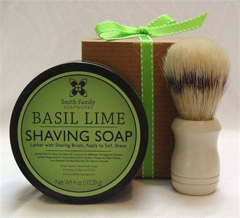 Handmade Shave Soap - handmade soap basil lime shave soap with gift