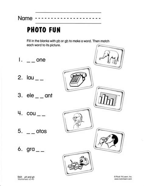 ph pattern words ph and gh free phonics worksheet language pinterest