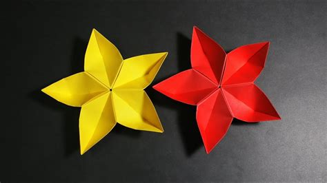 Origami 5 Petal Flower - diy paper flower how to make 5 petal origami flower at