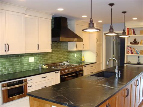 Soapstone Countertops Seattle by Black Soapstone Counters With Colorful Subway Tile