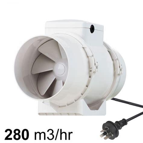 plug in exhaust tt mixflow in line fan 125mm w lead plug pure ventilation