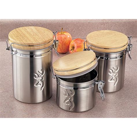 3 pc browning 174 home and lodge stainless steel canister