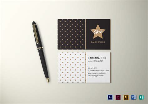 Dotted Line Outline Business Card Word Template by Dotted Business Card Template In Psd Word Publisher