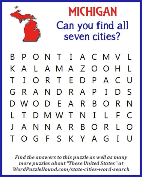 Michigan Finder State Of Michigan Cities Word Search Word Puzzle Hound