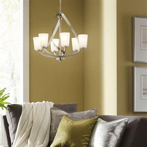 kichler 6 light chandelier shop kichler lighting layla 6 light brushed nickel