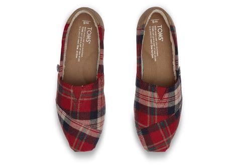 Plaid Flats lyst toms plaid flat shoes in