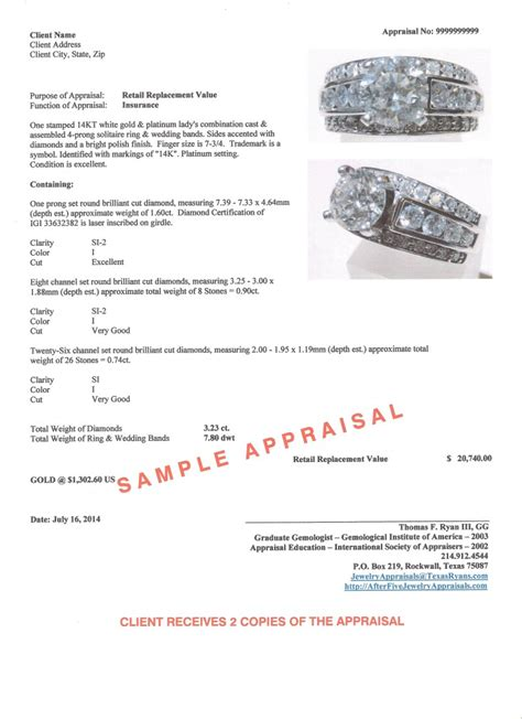 jewelry appraisal form template sle jewelry and appraisal