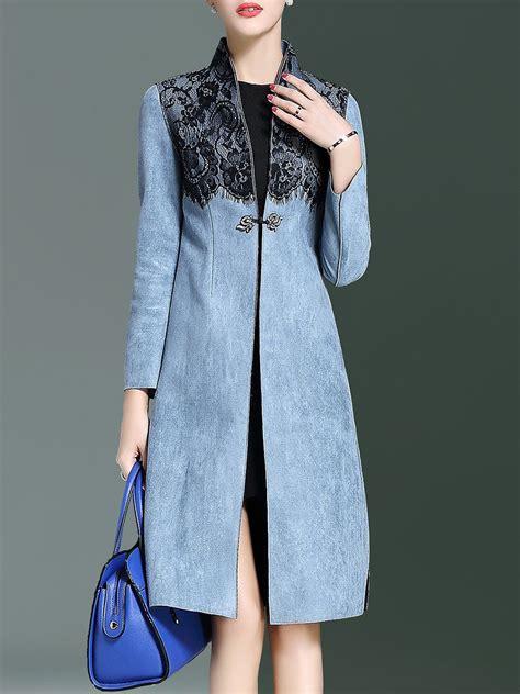blue polyester lace paneled slit   long sleeve coat coats blazers  clothes