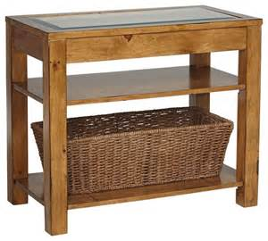 Rustic Accent Table Rustic Lodge Dryden Pine Storage Basket Accent Table Traditional Side Tables And End