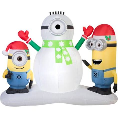 minion bounce house disney despicable me minions making snowman christmas airblown inflatable