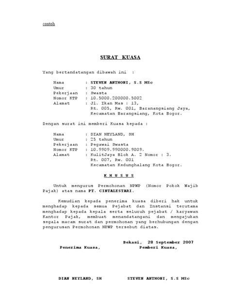 format surat kuasa penandatangan spt surat kuasa npwp