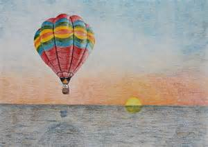 air balloon pencil drawing items similar to original colored pencil drawing quot the