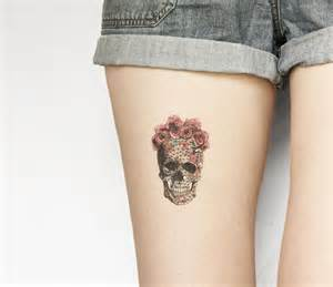 temporary tattoo halloween skull skeleton floral