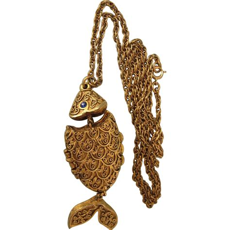 vintage max factor fish solid perfume pendant necklace