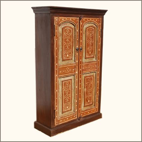 Wood Clothing Armoire Solid Teak Wood Bone Inlay Storage Closet Armoire