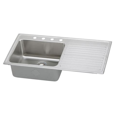 Stainless Steel Kitchen Sink With Drainboard Shop Elkay Gourmet 22 In X 43 In Lustertone Single Basin Stainless Steel Drop In 4