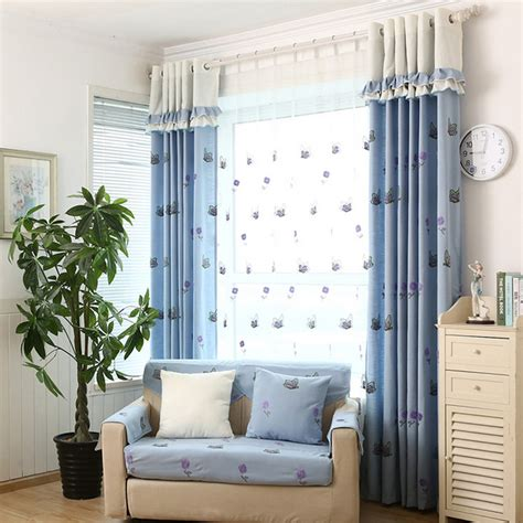 living room country curtains decorative embroidery craft blue butterfly cotton country