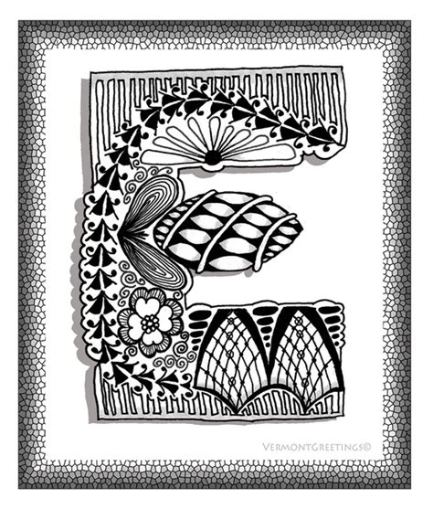 doodle e zentangle e monogram alphabet illustration image