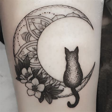 cat silhouette tattoo mandala moon with flowers and cat silhouette