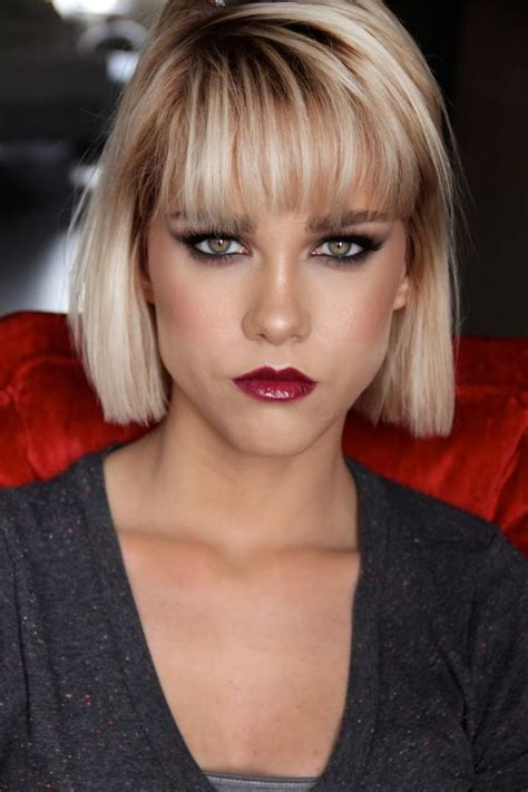 makeover hair styles bob bangs dramatic makeup bangs and winged liner on pinterest