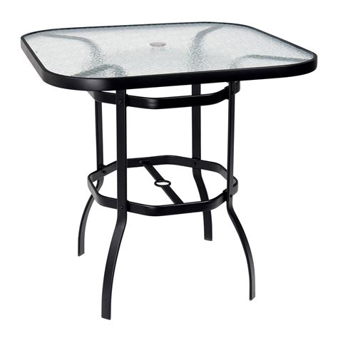deluxe 42 quot square glass top bar table woodard at