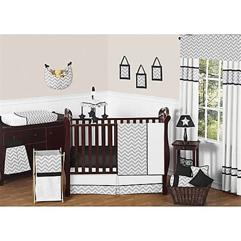 Zig Zag Crib Bedding Set Sweet Jojo Designs Zig Zag 11 Crib Bedding Set In Grey Black Buybuy Baby