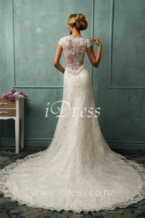 lace cap sleeve  neck illusion    wedding dress