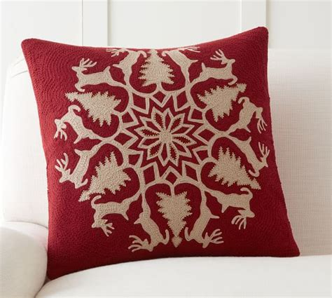 Christmas Throw Rugs by Reindeer Wreath Embroidered Pillow Cover Pottery Barn