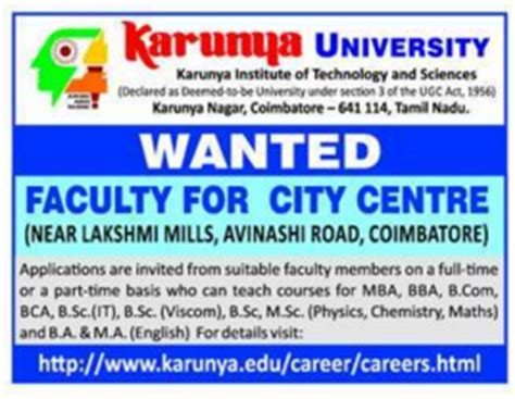 Internship In Coimbatore For Mba by Karunya Wanted Faculty For City Center