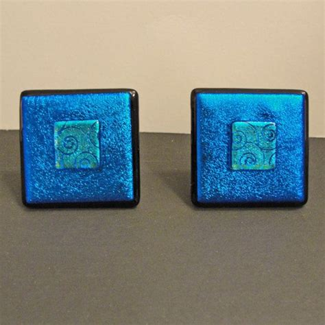 Teal Dresser Knobs by 1 Dichroic Fused Glass Knob Blue Teal Cabinet Knobs