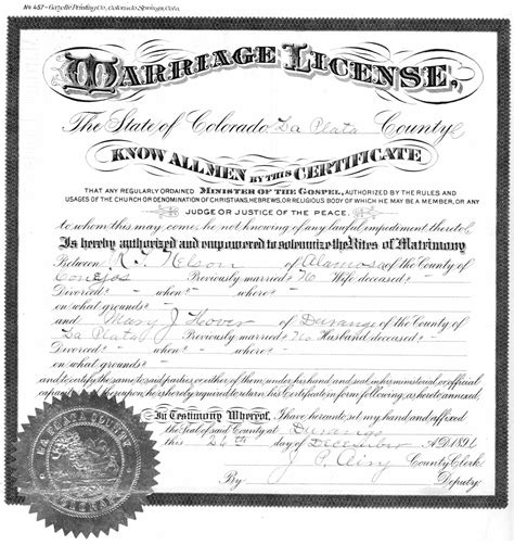 Marriage License Records Colorado Untitled Document Www Fortlewis Edu