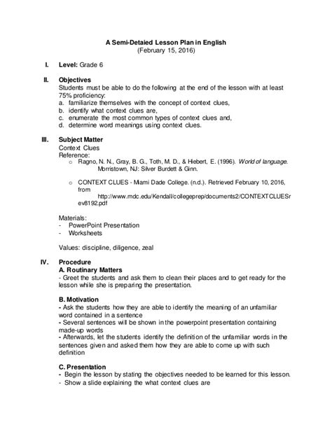college level lesson plan template a semi detailed lesson plan for