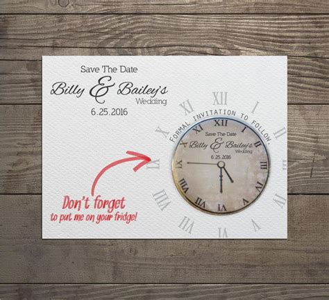 wedding invitations with matching save the date magnets 100 x clock save the date invites with detachable magnets and matching envelopes 2581309