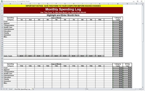 Monthly Spending Log Monthly Spending Worksheet Spending Ledger Template