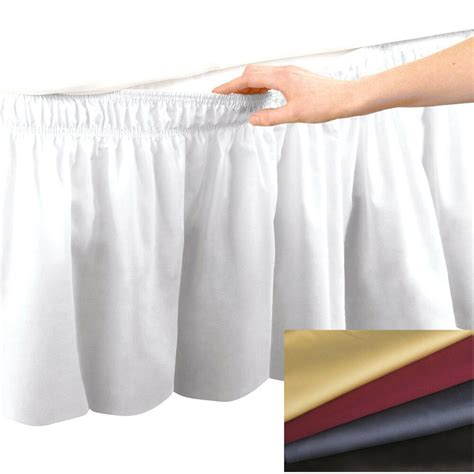 elastic bed skirt dust ruffle easy fit cotton 14 quot drop choose size color ebay