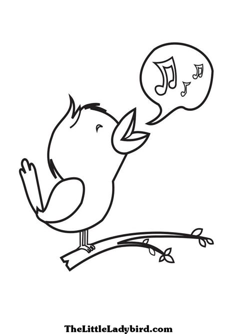 coloring pages of birds singing free singing bird coloring page thelittleladybird com