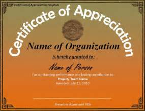 Appreciation Certificate Templates by Certificate Of Appreciation Template Word Templates