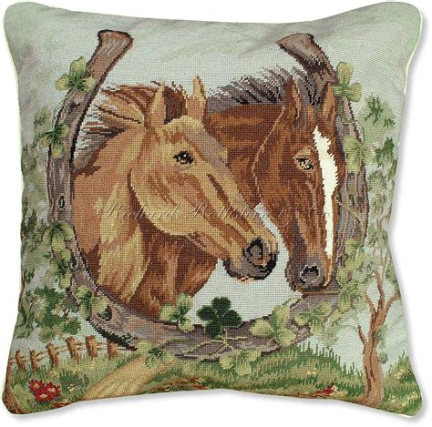 Wildlife Pillows by Horses Needlepoint Pillow Wildlife Accent Pillows