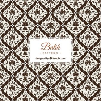 batik pattern outline background of hand drawn flowers and leaves vector free