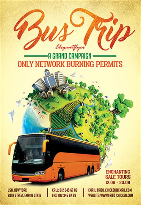 bus trip flyer psd template facebook cover by