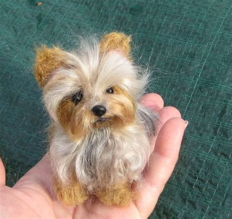 needle felted yorkie custom pet portrait your pet in miniature handmade poseable sculpture