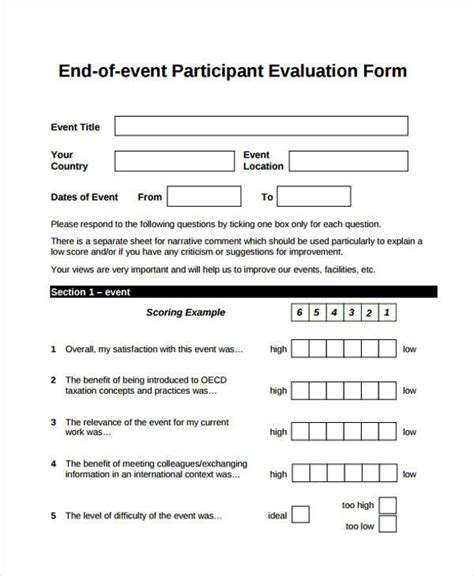 Event Feedback Form Sles 8 Free Sle Exle Format Download Participant Evaluation Form Templates