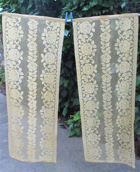 french lace curtains yellow kitchen curtains yellow rose panels pair by