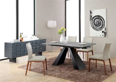 modern concrete glass extendable dining table vg