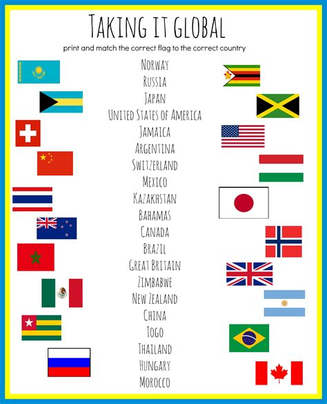 flags of the world game printable olympic party sochi 2014