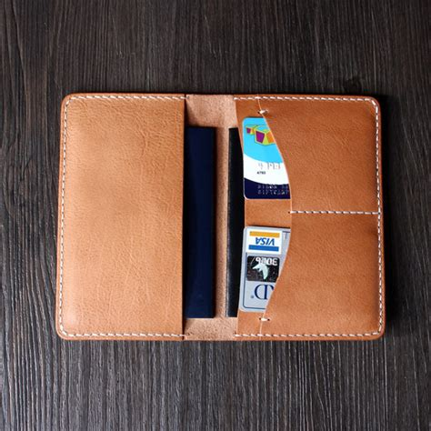 Handmade Passport Holder - italian vegetable leather passport holder card