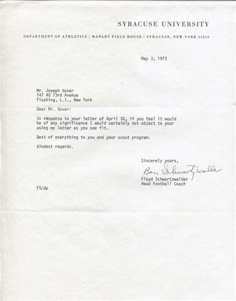 Syracuse Acceptance Letter Item Detail Ben Schwartzwalder Signed Letter Syracuse College Fb Hof Ernie Davis