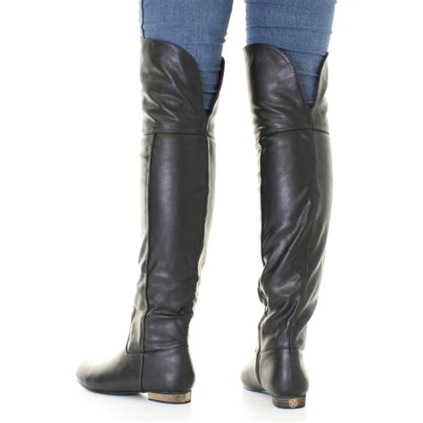 thigh high flat boots womens black leather style flat knee thigh high