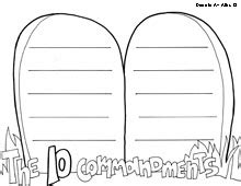 Ten Commandments Coloring Pages Religious Doodles Ten Commandments Printable Template