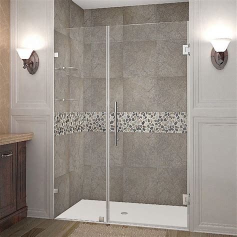 Frameless Hinged Glass Shower Doors Aston Nautis Gs 46 In X 72 In Frameless Hinged Shower Door In Chrome With Glass Shelves Sdr990